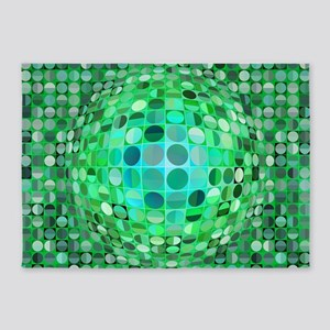 Optical Illusion Sphere - Green 5'x7'Area Rug