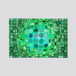 Optical Illusion Sphere - Green Rectangle Magnet