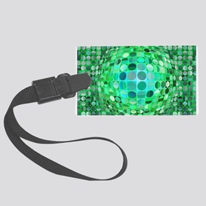 Optical Illusion Sphere - Green Large Luggage Tag