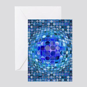 Optical Illusion Sphere - Blue Greeting Card