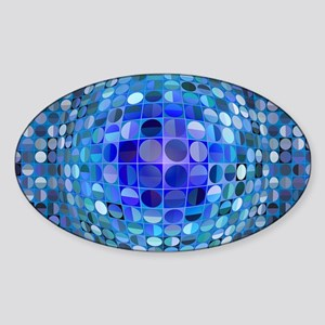 Optical Illusion Sphere - Blue Sticker (Oval)