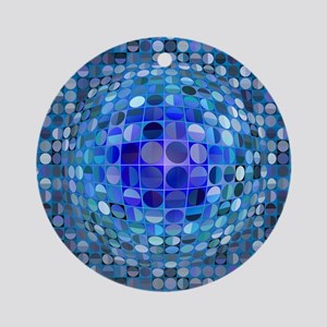 Optical Illusion Sphere - Blue Ornament (Round)