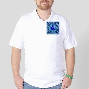 Optical Illusion Sphere - Blue Golf Shirt