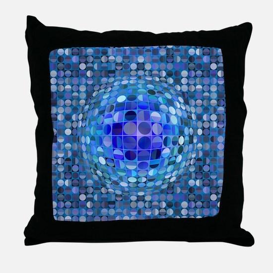 Optical Illusion Sphere - Blue Throw Pillow