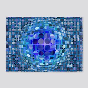 Optical Illusion Sphere - Blue 5'x7'Area Rug