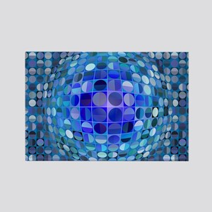 Optical Illusion Sphere - Blue Rectangle Magnet