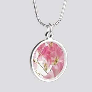 sweet pea Silver Round Necklace