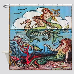 Vintage Mermaids Seashorse Fish Shower Curtain
