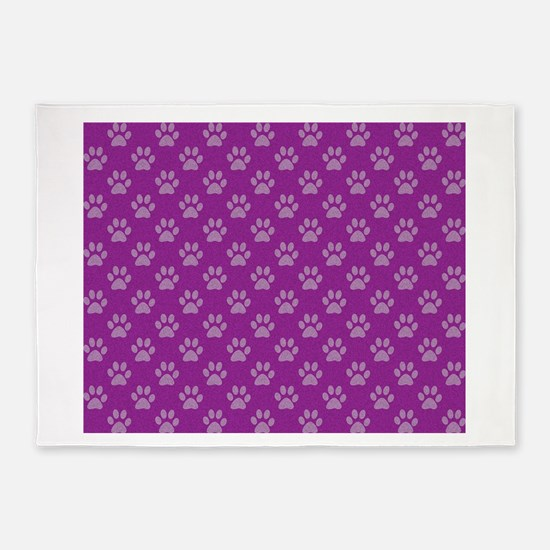 Puppy paw prints on purple background 5'x7'Area Ru