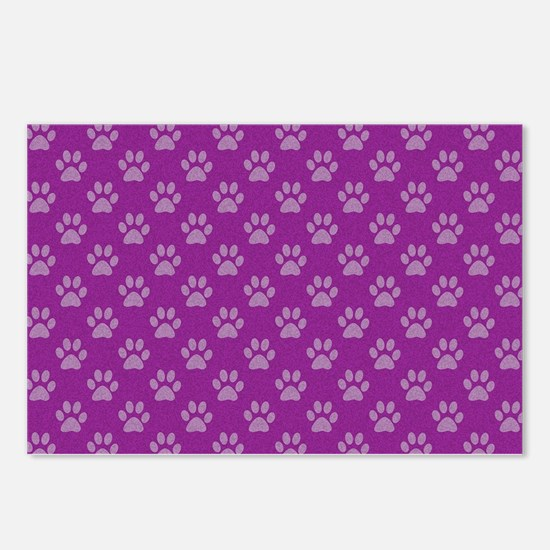 Puppy paw prints on purple background Postcards (P