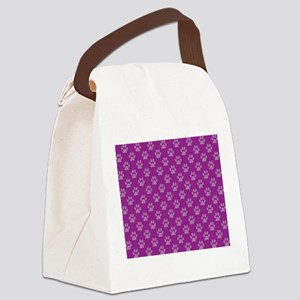 Puppy paw prints on purple background Canvas Lunch