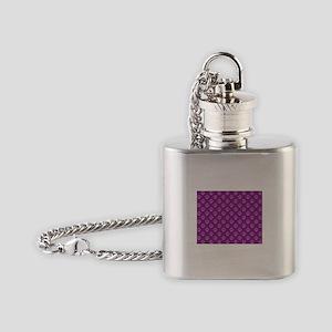 Puppy paw prints on purple background Flask Neckla