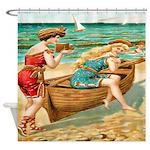 Vintage Victorian Women Boat Beach Shower Curtain