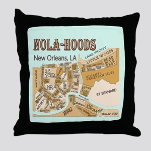 NOLA-Hoods Throw Pillow