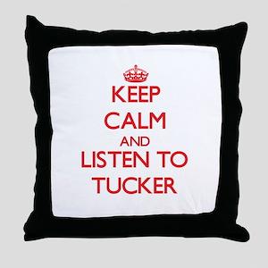 Keep Calm and Listen to Tucker Throw Pillow
