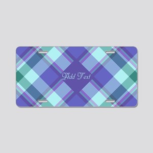 Spring Lilac Plaid Aluminum License Plate