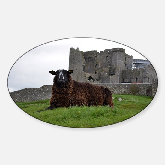 Sheep in Front of Rock of Cashel Sticker (Oval)