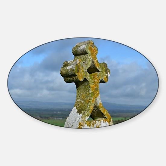 Cross at Rock of Cashel Sticker (Oval)