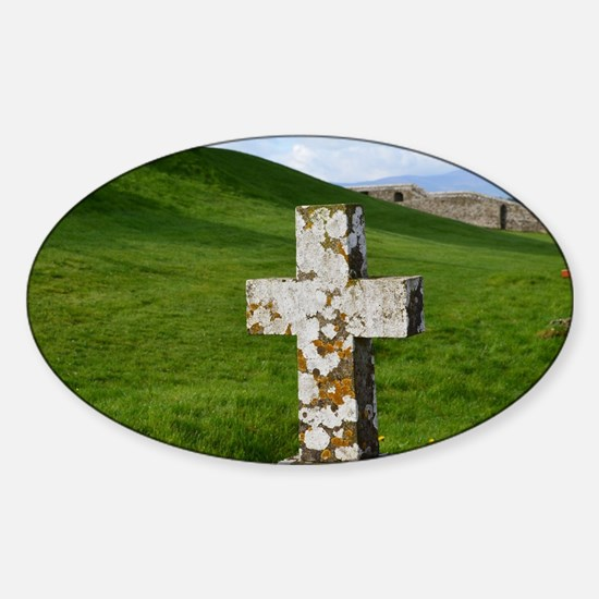 Christian Cross at Cashel Sticker (Oval)