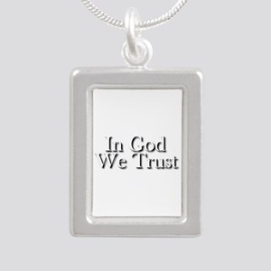 In God we trust Silver Portrait Necklace