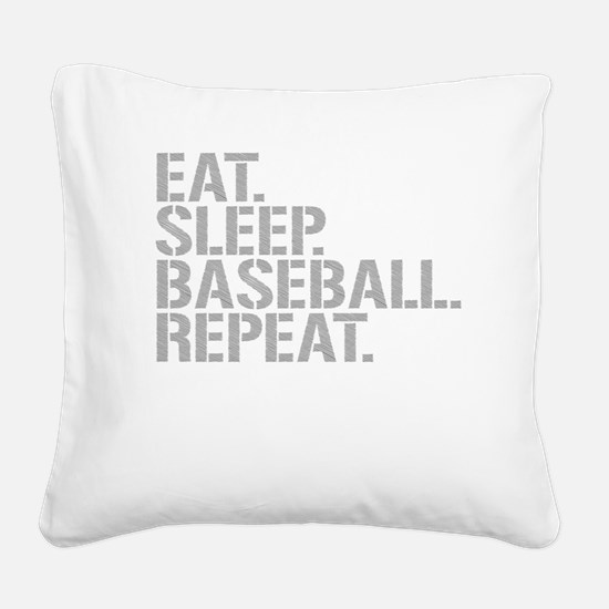 Eat Sleep Baseball Repeat Square Canvas Pillow