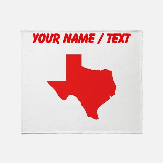Custom Red Texas Silhouette Throw Blanket