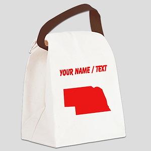Custom Red Nebraska Silhouette Canvas Lunch Bag