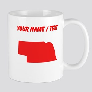 Custom Red Nebraska Silhouette Mugs
