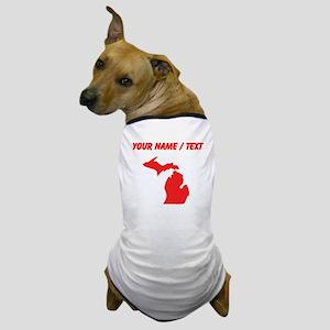 Custom Red Michigan Silhouette Dog T-Shirt