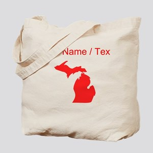 Custom Red Michigan Silhouette Tote Bag
