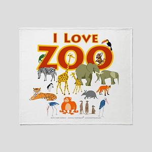 I Love Zoo Throw Blanket