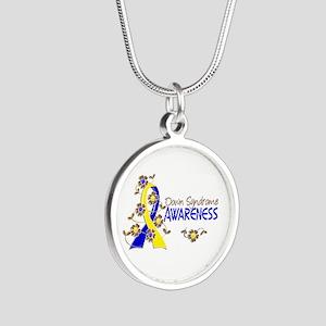 Spina Bifida Awareness6 Silver Round Necklace