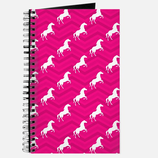 Hot Pink, White Horse, Equestrian, Chevron Journal