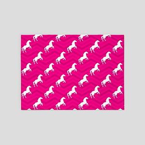Hot Pink, White Horse, Equestrian, Chevron 5'x7'Ar