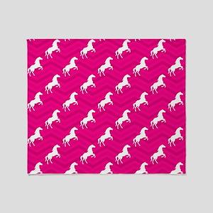Hot Pink, White Horse, Equestrian, Chevron Throw B