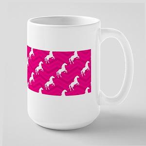 Hot Pink, White Horse, Equestrian, Chevron Mugs