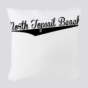 North Topsail Beach, Retro, Woven Throw Pillow