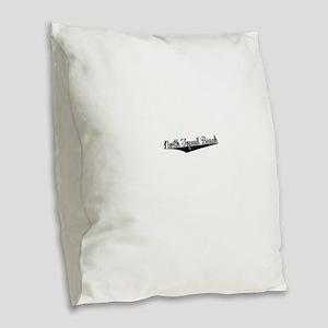 North Topsail Beach, Retro, Burlap Throw Pillow
