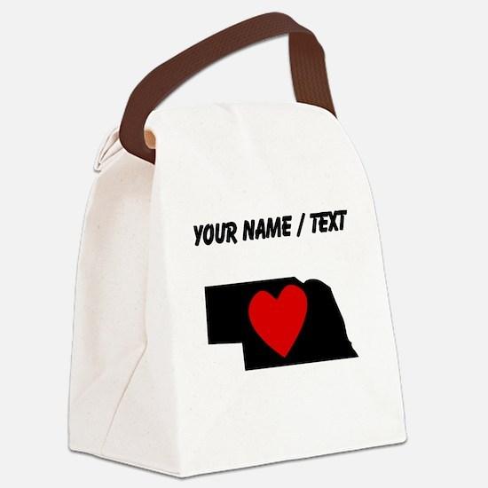 Custom Nebraska Heart Canvas Lunch Bag