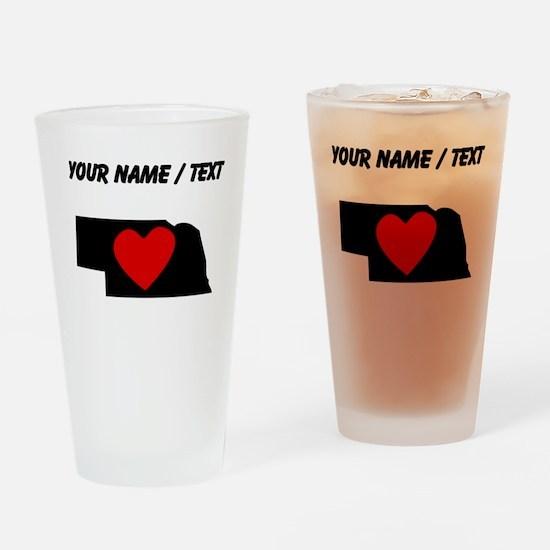 Custom Nebraska Heart Drinking Glass