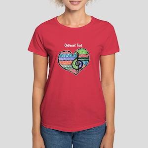 Customizable Music Heart Treb Women's Dark T-Shirt