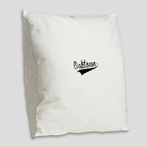 Oaktown, Retro, Burlap Throw Pillow