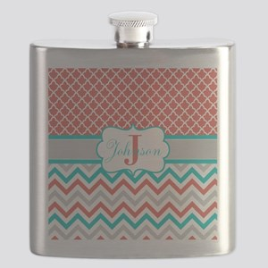 Coral Teal Chevron Quatrefoil Personalized Flask