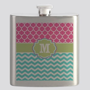 Pink Teal Green Quatrefoil Chevron Monogram Flask