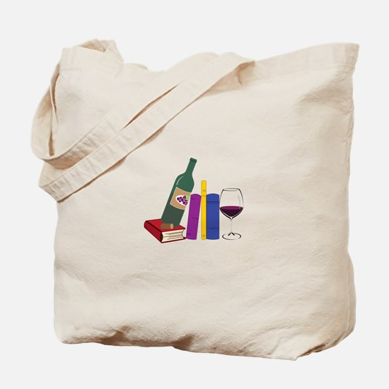 Books And Wine Tote Bag