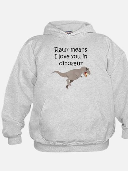 Rawr Means I Love You In Dinosaur Hoodie