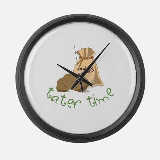 Potatoes tater time Large Wall Clock