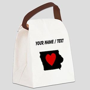 Custom Iowa Heart Canvas Lunch Bag