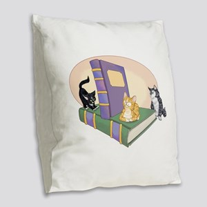 Kittys Tale Burlap Throw Pillow