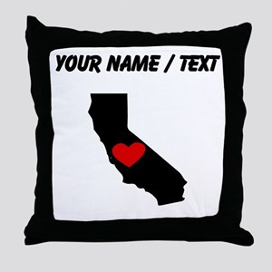 Custom California Heart Throw Pillow